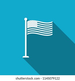 National flag of USA on flagpole icon isolated with long shadow. American flag sign. Flat design