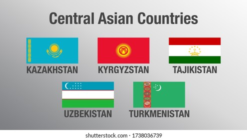 National flags of Central Asian Countries. Official and original colors. Proper proportions.