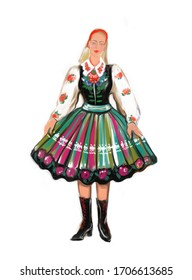National folk regional polish Lowicz costume girl dress. Poland traditions and culture. Polska woman isolated on white. Europe history clothes and fashion