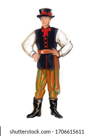 National folk regional polish Lowicz costume boy. Poland dress traditions and culture. Polska man isolated on white. Europe history clothes and fashion