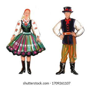 National folk regional polish Lowicz costume girl and boy. Poland traditions and culture. Married polska family couple in love isolated on white. Europe history clothes and fashion