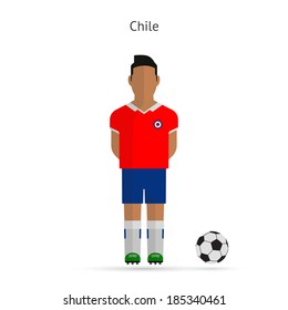 National football player. Chile soccer team uniform.