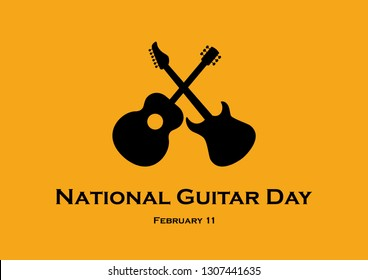 National Guitar Day illustration. Classic and electric guitar vector icon. Guitar black silhouette. February 11, National Guitar Day. Important day