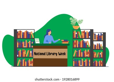 National Library Week, Female smiling librarian standing at the counter