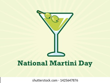 National Martini Day Poster. Martini drink with olive illustration. Martini glass with olive icon. National Martini Day Poster, June 19
