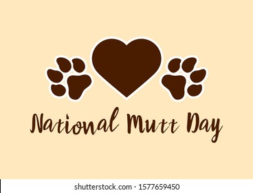 National Mutt Day illustration. Dog paw print illustration. Dog paw with heart icon. Mixed breed dog. Important day