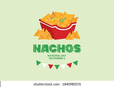 National Nachos Day illustration. Mexican nachos corn tortilla with cheese and peppers icon. Nacho chips in a box illustration. Nachos Day Poster, November 6. Important day
