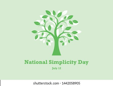 National Simplicity Day illustration. A tribute to Henry David Thoreau. Green Tree silhouette icon. Deciduous Tree illustration. Simple Tree icon. National Simplicity Day Poster, July 12