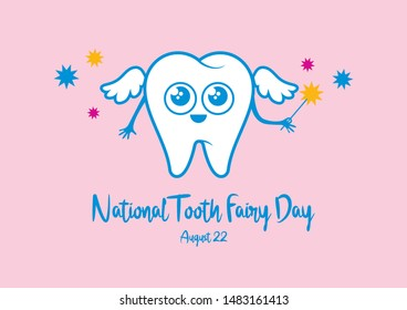 National Tooth Fairy Day illustration. Tooth Fairy cartoon character. Healthy white tooth icon. Smiling tooth illustration