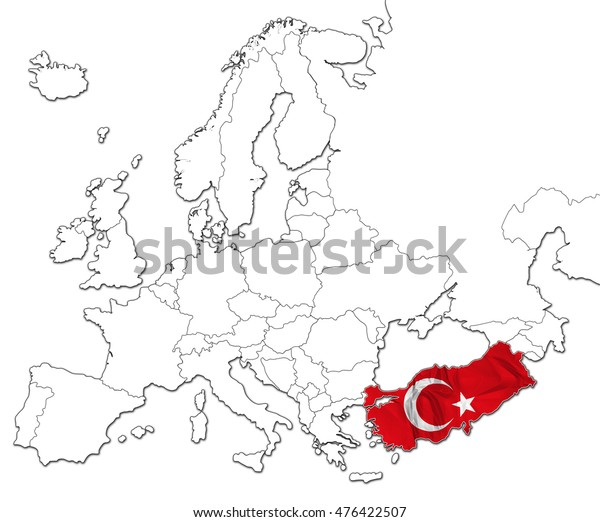 The national  Turkey flag in the map of Europe isolated on white background.