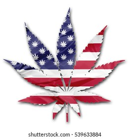 The national United States flag in Marijuana leaf illustration isolated on white background. legalize in USA concept.