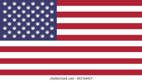 The national United States flag with Marijuana leafs inside, flat illustration background. concept for legalization in USA.