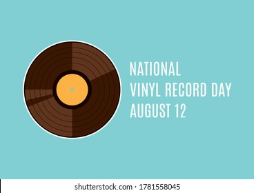 National Vinyl Record Day illustration. Retro gramophone record icon. Vinyl record illustration. Vinyl Record Day Poster, August 12. Important day