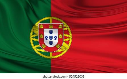 National waving flag of Portugal on a silk drape