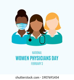 National Women Physicians Day illustration. Female doctor with stethoscope icon. Group women doctors avatar illustration. Women Physicians Day Poster, February 3. Important day