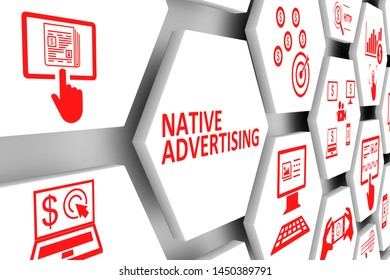 NATIVE ADVERTISING  concept cell background 3d illustration