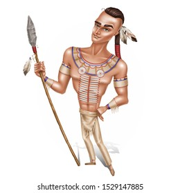 Native american. Cartoon character illustration