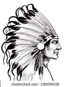 Native American chief head. Ink black and white drawing
