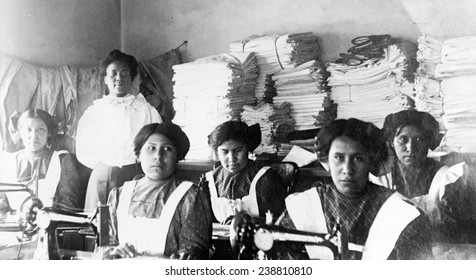 Native American girls in sewing class Bismark Indian School, North Dakota. 1909 -1920