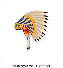 Native american headdress pattern raster icon cartoon illustration headwear with eagle s feathers traditional hat of ancient nation indian citizen