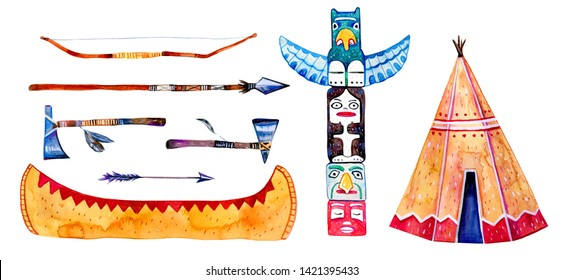 Native American indians traditional settlement objects. Wigwam, totem pole, canoe, weapons. Hand drawn watercolor illustration set isolated on white background
