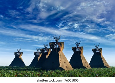Native American landscape. Six North American Indian Tepees in a field of green grass and wildflowers against a rich blue sky  with white clouds. Original illustration