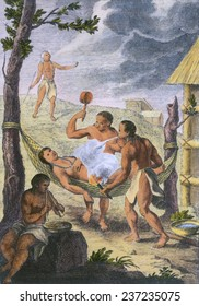 Native American medicine, Image from the account of Gumilla Jesuit Priest on the Orinoco River Valley of present day Venezuela and Colombia. 1741 engraving with modern watercolor.