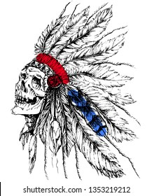Native American peple in national hat,skull,tattoo on a white background