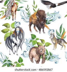 Native american traditional art, watercolor seamless pattern with indian tribal and ethnic animals and plants - horses, buffalo, eagle, wolf, bear