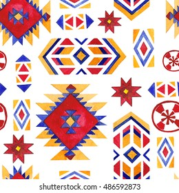Native american traditional art, watercolor seamless pattern with indian tribal and ethnic geometry elements