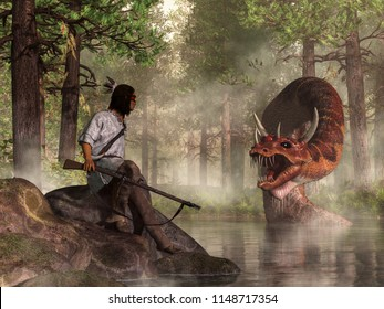 A Native American Warrior carrying a flintlock musket faces Uktena, the horned snake, a dragon-like creature of American Indian legend, which rises from the waters of a forest lake. 3D Rendering