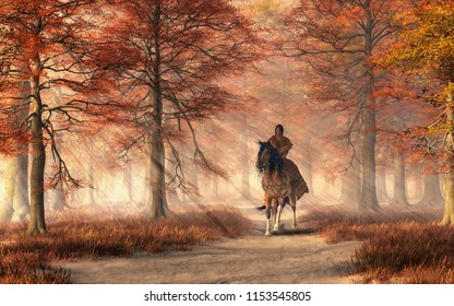 A Native American woman wearing a brown dress rides a pinto coated mustang through a forest alive with the colors of autumn. Sunlight shines down to illuminate the path, rider, and horse. 3D Rendering