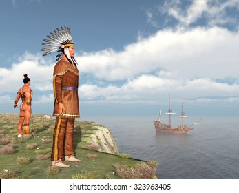 Native Americans and the Mayflower Computer generated 3D illustration