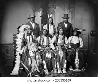 Native Americans, Sioux Indians, Joe Merrivale, Young Spotted Tail, Antoine Janis, Touch-the-Clouds, Little Big Man, Black Cool, photograph by George E. Hyde, Omaha, Nebraska, circa 1865-1880.