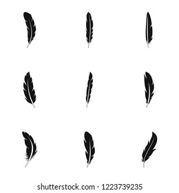 Native feather icon set. Simple set of 9 native feather icons for web design on white background