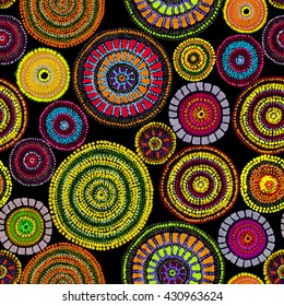 Native ornament of Australia aborigines - dots, circles. Modern seamless pattern. Hand painting