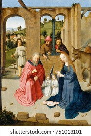 THE NATIVITY, by Gerard David, 1480-89, Netherlandish, Northern Renaissance painting, oil on wood. Nativity with the Adoration of the Shepherds, within a roofless building. In the background is a land