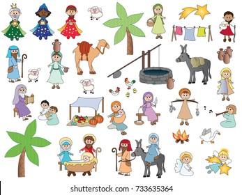 Nativity Cartoon Characters Set isolated