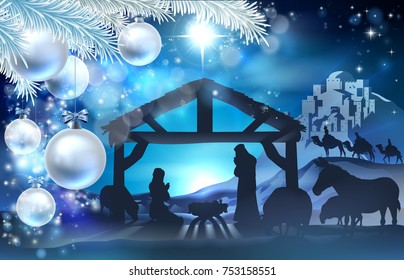 Nativity Christmas illustration of Joseph and Virgin Mary with baby Jesus in the manger. Farm animals surround the holy family with the wise men and star of Bethlehem in the background.