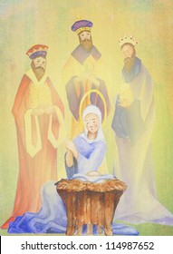 Nativity  Christmas scene copy ready watercolor  original illustration