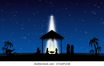 The Nativity of Jesus in Bethlehem concept design background for christmas time with three magies and beautiful starlight in the silent night.