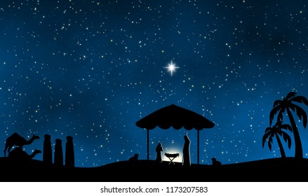 The nativity of Jesus in Bethlehem illustration design background for christmas time.