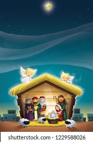 The nativity scene, birth of Jesus Christ in a manger with His parents, three kings, shepherd, angels, and sheeps. Suitable for Christmas invitation, greeting card, sunday school material.