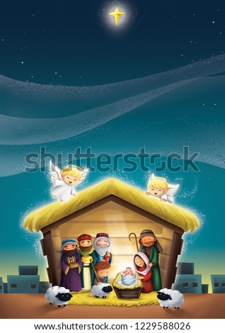 nativity scene birth jesus christ manger stock illustration