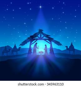 Nativity scene, Christmas star on blue sky and birth of Jesus, illustration.