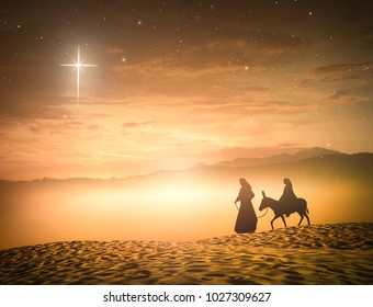 Nativity scene concept: Silhouette pregnant Mary and Joseph with a donkey on star of cross background