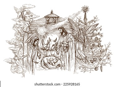 Christmas Jesus Birth Drawing.Nativity Scene Sketch Images Stock Photos Vectors