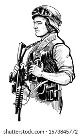 NATO soldier with a automatic rifle. Ink black and white drawing