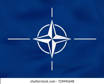 Nato waving flag. Nato national flag background texture. Raster copy.