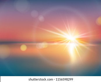 Natural background with bright sunlight, with light effect, lens flare, realistic illustration. Horizon with a solar flash with golden rays during sunrise or sunset